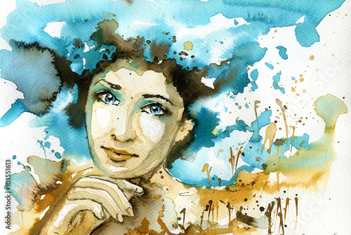 Recess Fitting Painterly Inspiration Abstract watercolor illustration depicting a portrait of a woman