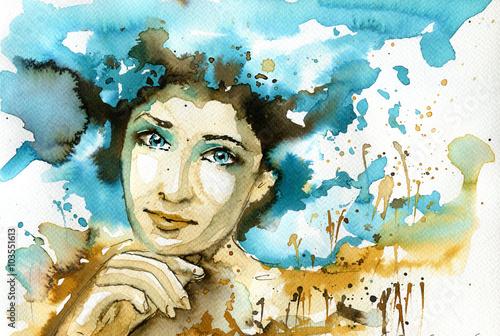 Deurstickers Schilderkunstige Inspiratie Abstract watercolor illustration depicting a portrait of a woman