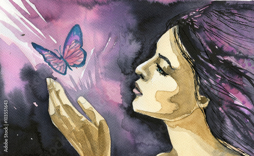 Photo sur Aluminium Inspiration painterly Abstract watercolor illustration depicting a portrait of a woman.