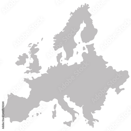 map of Europe in gray on a white background Fotobehang