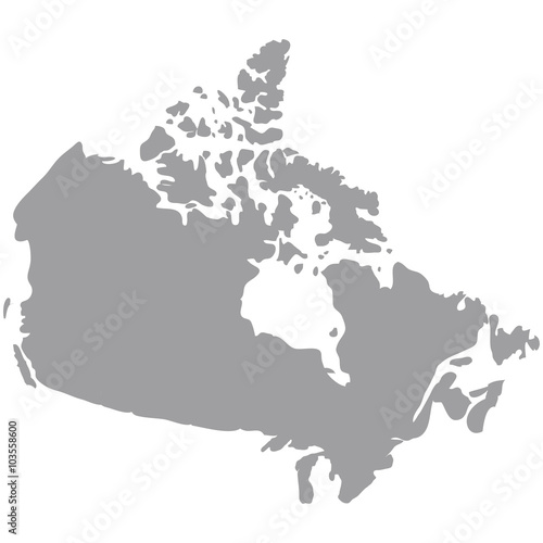 map of canada gray on a white background Canvas Print