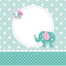 Green And Pink Elephant Baby Greeting Card