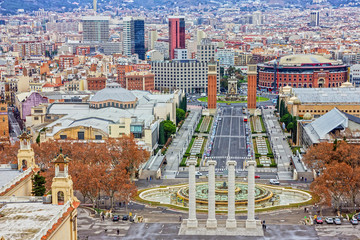 Panel Szklany Barcelona city panoramic view, Spain. Placa De Espanya