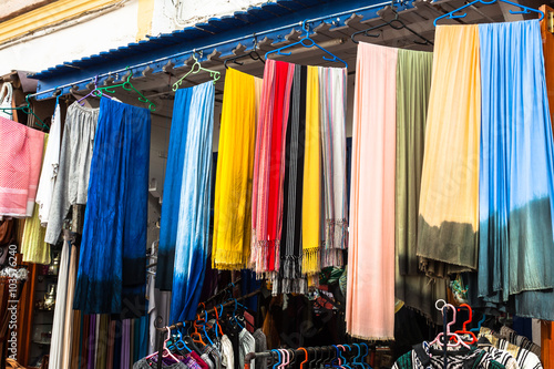Old Medina souk Fez, artisan shop of colorful moroccan leather,