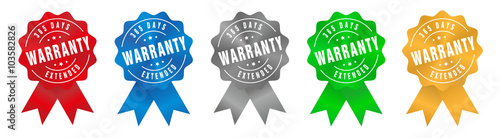 Fotografering  Vector Warranty 365 Days Extended Badge Ribbon
