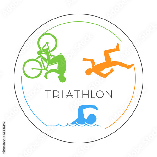 Vector line logo triathlon and figures triathletes. Wallpaper Mural