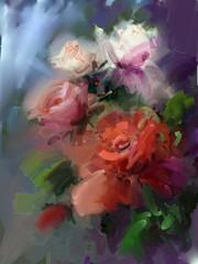 Panel Szklany Podświetlane Do herbaciarni Roses.