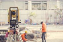 Surveyor Equipment Tacheometer Or Theodolite Outdoors At Constru