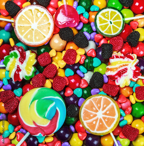 Photo sur Aluminium Confiserie multi-colored sweets and chewing gum