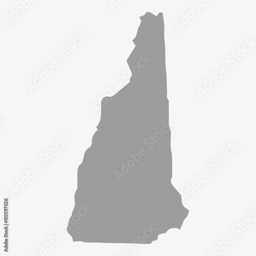 Map of New Hampshire State in gray on a white background Canvas Print