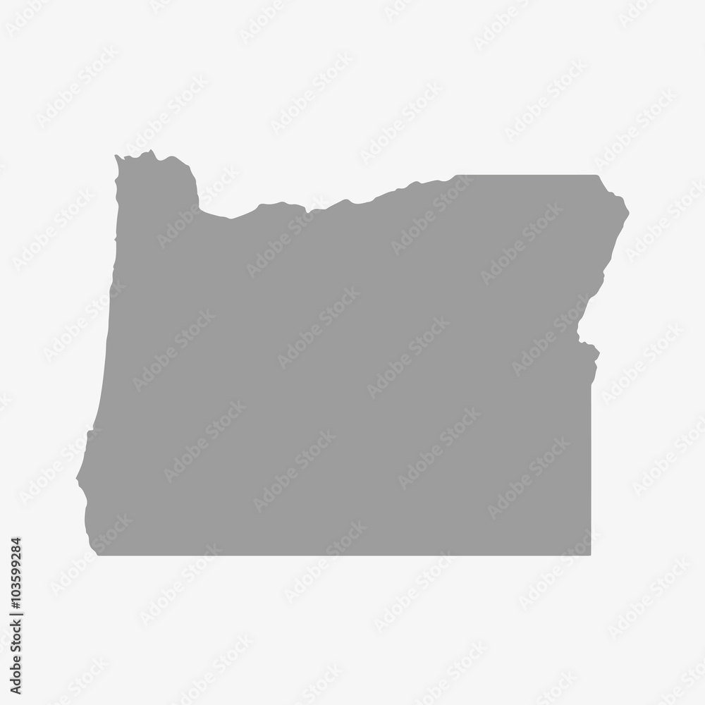 Fototapety, obrazy: Map of Oregon State in gray on a white background