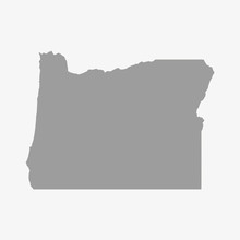 Map Of Oregon State In Gray On A White Background