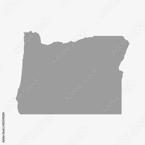Fototapeta Map of Oregon State in gray on a white background obraz