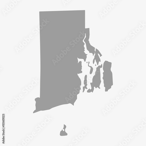 Map State of Rhode Island in gray on a white background