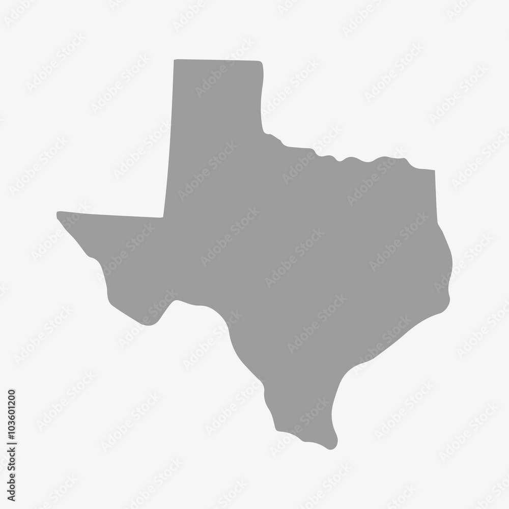 Fototapety, obrazy: State of Texas map in gray on a white background