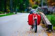Vintage red scooter motor bike near Bohinj Lake, Slovenia. Colorful autumnal scene.