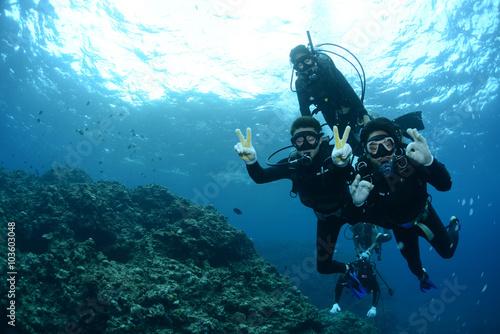 Tuinposter Duiken Okinawa Scuba Diving