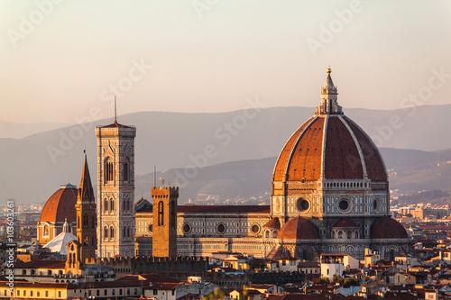 Fotografie, Obraz  Duomo Santa Maria Del Fiore and Bargello in the evening from Piazzale Michelange