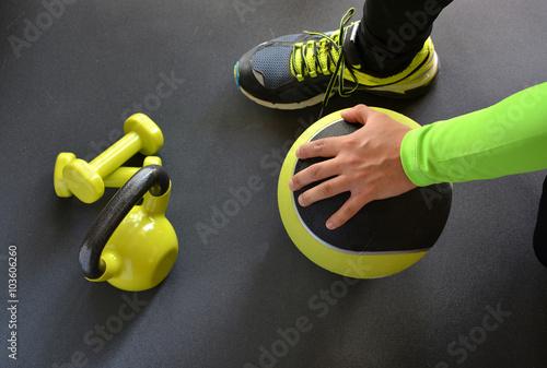 Fotografie, Obraz  man training with kettlebell and medicine ball