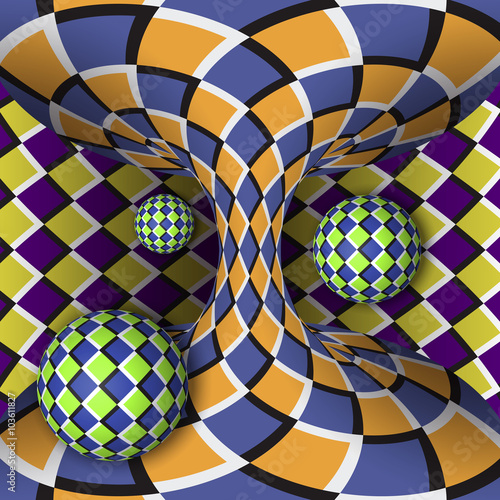 Fotografie, Obraz  Optical illusion of rotation of three balls around of a moving hyperboloid