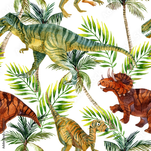 Cotton fabric Dinosaur watercolor seamless pattern