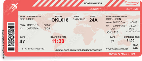 Photo  Vector illustration of airline boarding pass