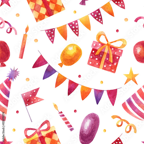 Cotton fabric Watercolor pattern with elements of birthday party