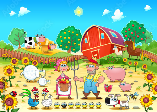 Poster Chambre d enfant Funny farm scene with animals and farmers