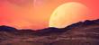 Krajobraz planety androidów z widokiem na księżyce.