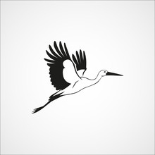 Flying Stork Simple Silhouette On A White Background Vector Illu