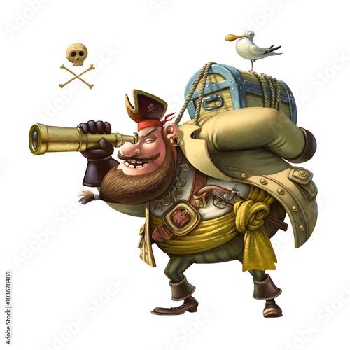 Naklejka premium Zabawna postać Pirata. Ilustracja.