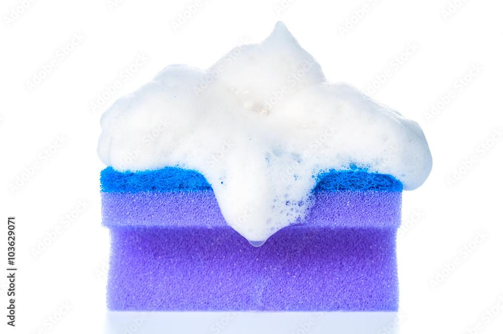 Fototapeta Soapy sponge on white background