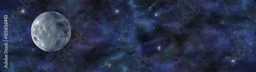 Blue Moon Deep Space Banner - wide website header of deep space night sky, with Wallpaper Mural