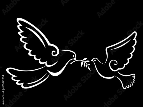 Peace Dove Couple Black Background Canvas