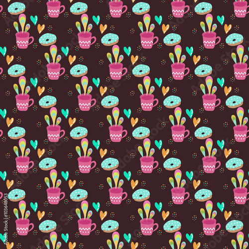 Papiers peints Hibou Seamless pattern with cups of tea on a dark background