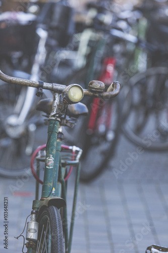 Classic vintage retro city bicycle in Copenhagen, Denmark Canvas Print