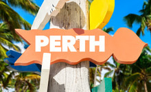 Perth Welcome Sign With Palm Trees