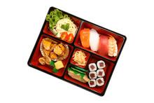 Bento Box With Sushi Isolated On White Background