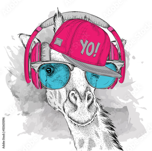 Láminas  The image of the giraffe in the glasses, headphones and in hip-hop hat