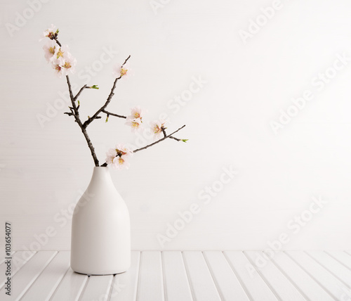 Vase with cherry blossom