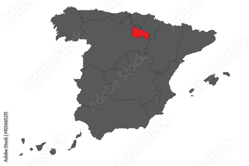 La Rioja red map on gray Spain map vector