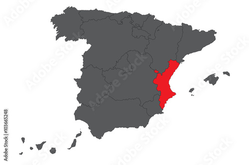 Valencian Community red map on gray Spain map vector - Buy this ...