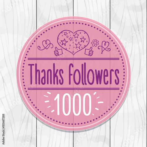 Fotografía  Thanks followers 1000 Sticker, round, tag, wooden background