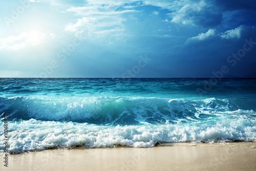 Foto-Schiebegardine Komplettsystem - waves at Seychelles beach