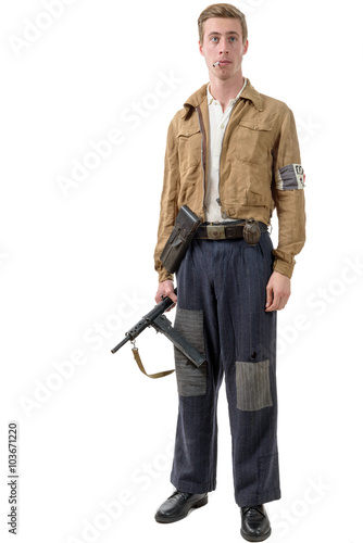 Photo  young French Resistance, vintage clothes and weapons, reenactmen