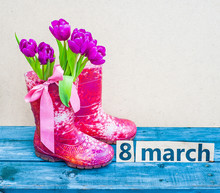 Bouquet Of Tulips In Rubber Boots
