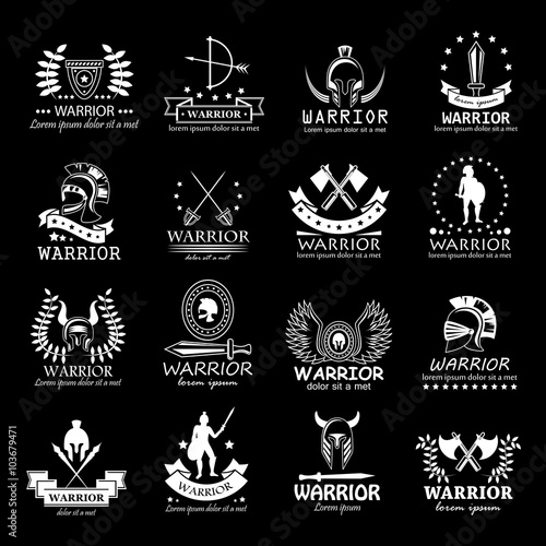 Warriors Icons Set Isolated On Black Background Vector Illustration