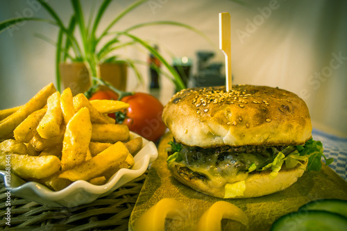Fotografie, Obraz  Burger with Pommes