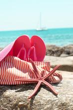 Beach Bag Flip Flops Sea Star Hat Ocean Summer Holiday