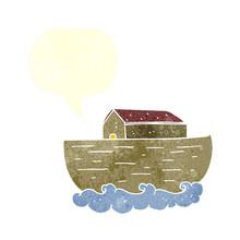 Retro Speech Bubble Cartoon Noah's Ark